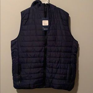 NWT Navy blue vest with hood